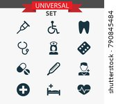medicine icons set with stand ...   Shutterstock .eps vector #790845484