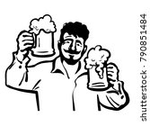 cheerful man with two beer mugs.... | Shutterstock .eps vector #790851484