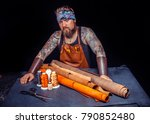artisan of leather works with... | Shutterstock . vector #790852480