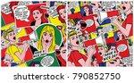 pop art backgrounds set. retro... | Shutterstock . vector #790852750