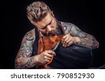 worker of leather works with... | Shutterstock . vector #790852930