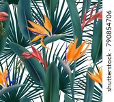 Green Palm Leaves And...