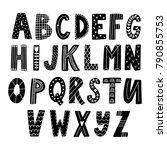 hand drawn latin alphabet in... | Shutterstock .eps vector #790855753