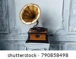 old record player against... | Shutterstock . vector #790858498