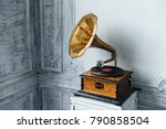 music device. old gramophone... | Shutterstock . vector #790858504