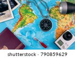 concept of travel. map and... | Shutterstock . vector #790859629