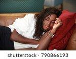 lovely african american woman...   Shutterstock . vector #790866193