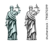 judiciary symbol. lady justice... | Shutterstock .eps vector #790870399