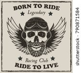 vintage motorcycle t shirt... | Shutterstock .eps vector #790871584