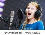 regording studio. child girl... | Shutterstock . vector #790873039