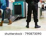 security guard near airoport x... | Shutterstock . vector #790873090