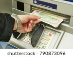 dollar cash withdrawal from atm | Shutterstock . vector #790873096