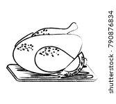 roast chicken design | Shutterstock .eps vector #790876834