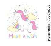 magic cute unicorn in cartoon... | Shutterstock .eps vector #790878886