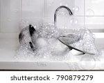 bubbles from dishwashing liquid ... | Shutterstock . vector #790879279