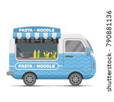 pasta and noodle street food... | Shutterstock .eps vector #790881136
