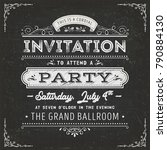 vintage party invitation card... | Shutterstock .eps vector #790884130