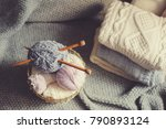 grey and pink yarn ball with...   Shutterstock . vector #790893124