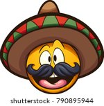 cartoon mexican emoticon.... | Shutterstock .eps vector #790895944