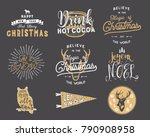 big merry christmas typography... | Shutterstock .eps vector #790908958