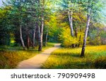 oil painting  forest landscape ... | Shutterstock . vector #790909498