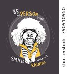 white poodle dog in a striped...   Shutterstock .eps vector #790910950
