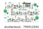 bicycles available for rent... | Shutterstock .eps vector #790912354
