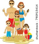 tanned  healthy family of five... | Shutterstock .eps vector #790915414
