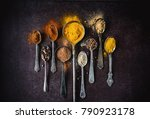 colorful selection of spices | Shutterstock . vector #790923178