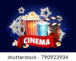 cinema poster design. vector... | Shutterstock .eps vector #790923934