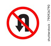 no u turn sign | Shutterstock .eps vector #790926790