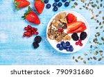 breakfast  fruit bowl with...   Shutterstock . vector #790931680