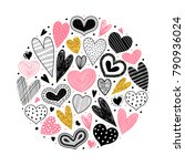 template card with hearts.... | Shutterstock .eps vector #790936024