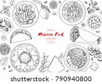 mexican food top view frame. a... | Shutterstock .eps vector #790940800
