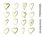 gold hand drawn set with hearts.... | Shutterstock . vector #790944304