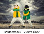 two brothers dancing break... | Shutterstock . vector #790961320