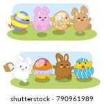 bunnies with chick friends... | Shutterstock .eps vector #790961989