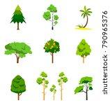 different tree set  vector... | Shutterstock .eps vector #790965376