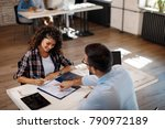 young woman signing contract... | Shutterstock . vector #790972189