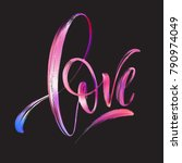 love word hand drawn lettering. ... | Shutterstock .eps vector #790974049