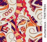 seamless mehndi vector pattern. ...   Shutterstock .eps vector #790979854