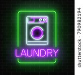 neon glowing laundry signboard...