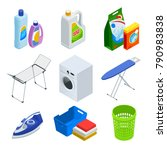 isometric laundry service... | Shutterstock .eps vector #790983838