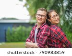 portrait of a happy young... | Shutterstock . vector #790983859