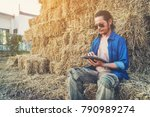 smart farmer checking stock of... | Shutterstock . vector #790989274