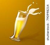 vector realistic 3d beer glass... | Shutterstock .eps vector #790998214