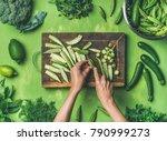 healthy green vegan cooking... | Shutterstock . vector #790999273