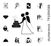 bride and groom cake icon. set... | Shutterstock .eps vector #791004388