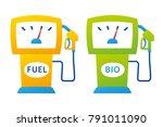 yellow gas pump and green bio... | Shutterstock .eps vector #791011090