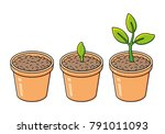 flowerpot with potting soil ... | Shutterstock .eps vector #791011093